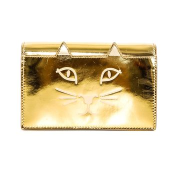 Charlotte Olympia Gold Kitty Face Mini Bag