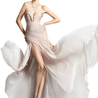 Crystal Dresses Sweetheart Chiffon Floor-length Formal Gown Prom Dresses