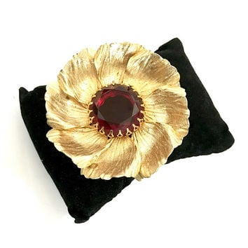 Large Gold Tone Flower Brooch, Brushed Gold Tone Metal Petals, Open Back Red Center Crystal, Fancy Prongs, Dimensional, Vintage Gift for Her