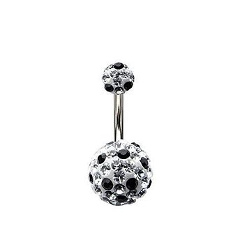 WildKlass Black and Clear Tiffany Heart Belly Ring 14g 3/8s