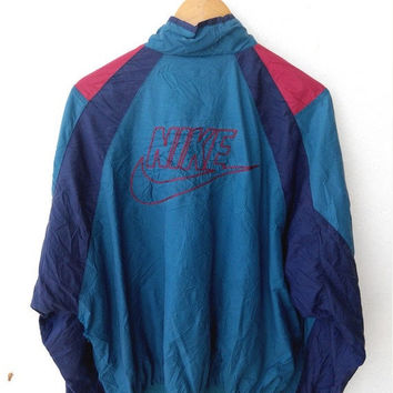 HOT SALE Vintage 90's NIKE Gray Tag Swoosh Big Logo Air Jordan Windbreaker Sweater Zipper Light Jacket Xl