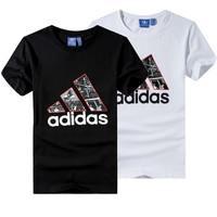 """Adidas"" Unisex Fashion Casual Letter Pattern Print Short Sleeve Cotton T-shirt Couple Shirt Top Tee"