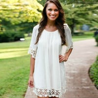 White Lace Spliced Sundress