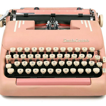 1956 Pink Smith Corona Typewriter Silent Super / Professionally Serviced / Pink Typewriter / Working Typewriter / Gifts for Writers