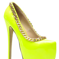 Red Kiss Patent Neon Chained Up Platform Heels
