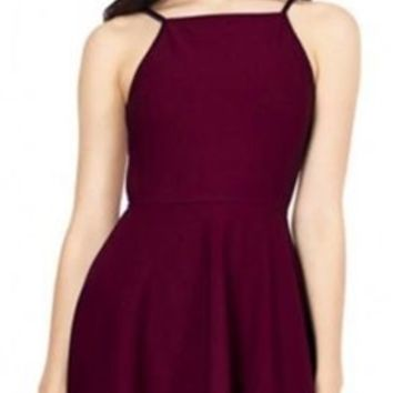 Burgundy Wine Backless Halter Top Sleeveless Mini Skater Dress