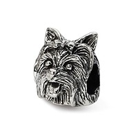Sterling Silver Yorkshire Terrier Head Bead Charm