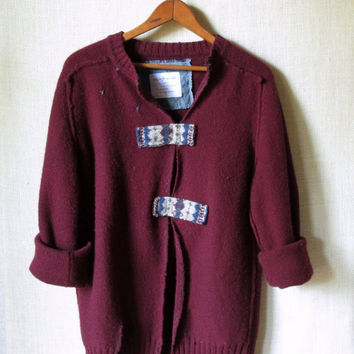 Oversized Sweater altered clothing boho artsy lagenlook upcycled repurposed wool tunic burgundy wine tattered mori girl womens medium large