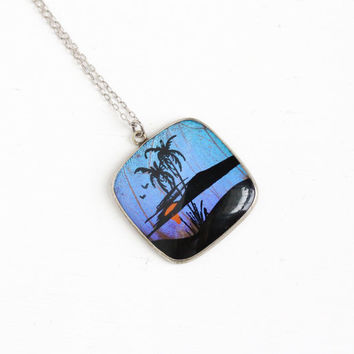 Vintage Blue Morpho Butterfly Wing Necklace - 1940s Sterling Silver Chain Souvenir Palm Tree Tropical Large Pendant Jewelry
