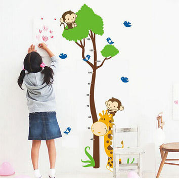 Cute Monkey Giraffe Wall Sticker Height Scale Measure Sticker For Baby Room Kid Room Nursery Cartoon Animal Wall Art