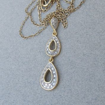 Dainty Gold Plated Sterling Silver Vermeil Double Tear Drop Vintage Pendant Necklace