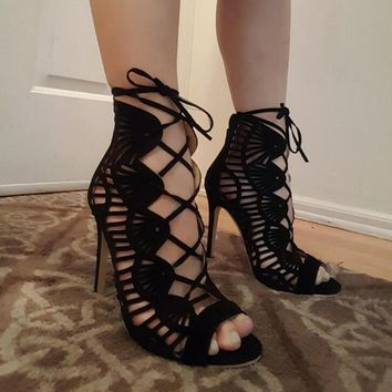 Black Suede Leather Open Toe Sandals Cut Out Straps Cage High Heels Lace Up Stiletto