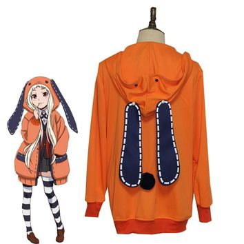 Anime Kakegurui Compulsive Gambler Runa Yomozuki Cosplay Costume Halloween Carnival Uniform Cute Rabbit Ears Hoodies Custom Made