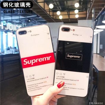 2018 Fashion glass phone case for iPhone 6 6s 6Plus 6sPlus 7 7Plus 8 8Plus X