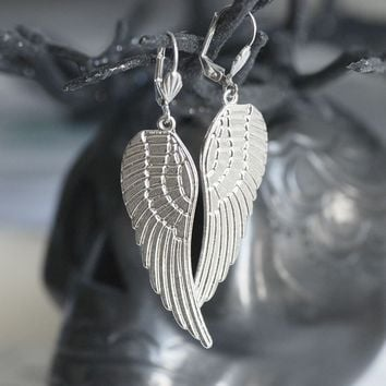 Angel Wings earrings  rhodium lever backs by blackpersimmons
