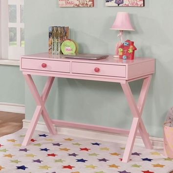 2 Drawers Wooden Computer Desk with Trestle Base, Pink