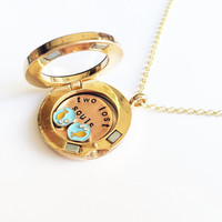 """Pink Floyd """"Two Lost Souls"""" Floating Charm Locket Necklace, Hand Stamped"""