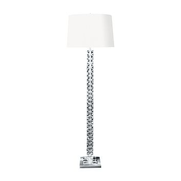 10005 Diamond Cut Crystal Floor Lamp with Satin Nickel Base
