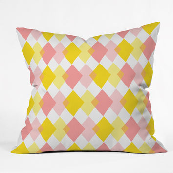 Hello Twiggs Yellow Party Outdoor Throw Pillow