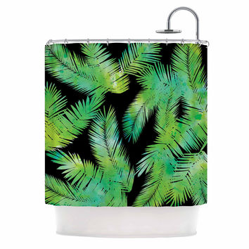 "Draper ""Tropic Green"" Black Nature Shower Curtain"