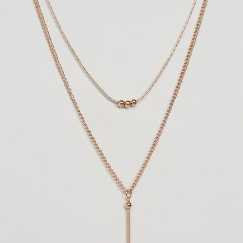 ASOS Ball Chain Multirow Necklace at asos.com
