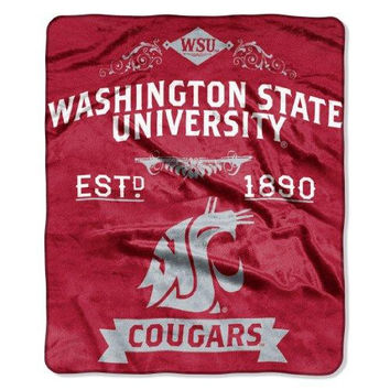 Washington State Cougars NCAA Royal Plush Raschel Blanket (Label Series) (50x60)