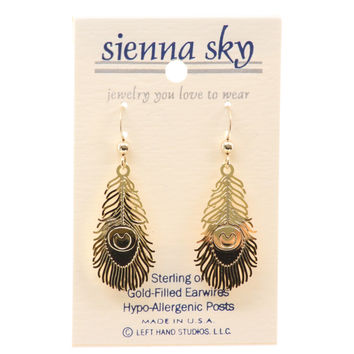 Sienna Sky Gp Peacock Feather Earrings