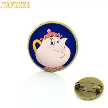 TAFREE cute cartoon beauty and the beast glass cabochon brooches pin fashion handmade women kids badge brooch party jewelry CT11
