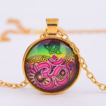 Religious Culture Jewelry henna Buddhism Glass Necklaces Om YOGA Jewelry Muslim Zen Necklace Meditation Mandala Necklace G28