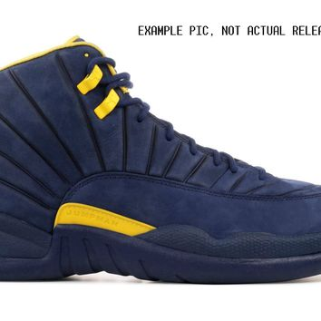 BC KUYOU Nike Air Jordan Retro 12 RTR Michigan College Navy Amarillo BQ3180-407