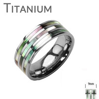 Intuition -  Polished solid titanium ring with triple abalone inlaid band