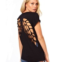 Sheinside Short Sleeve Back Hollow Wing T-Shirt (M, Black)