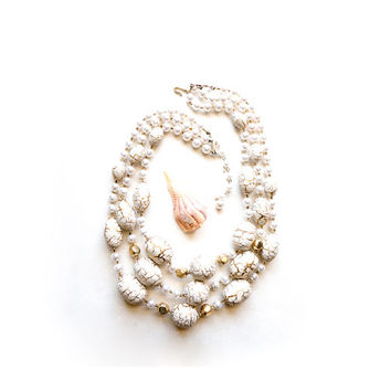 Vintage Multi Strand Necklace Chunky Faux Pearl 1950s Jewelry 50s Costume Jewelry 1950s Necklace Ivory Winter White Cocktail Jewelry