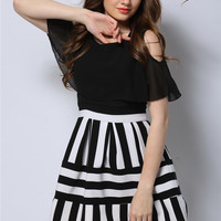 Black and White Frilled Cut-Out Shoulder Striped Dress