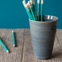 Ceramic Pencil Holder / Office Decor / Pen and Pencil Cup