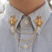 Golden Bee Collar Chain Collar Clip