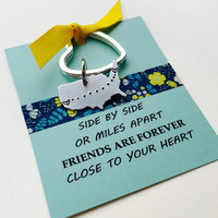 Long Distance Keychain, Best Friends Keychain, Personalized United States Keychain, Moving Away Gift  - Friends Gift  Friends Quote