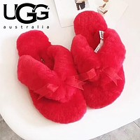 UGG Winter Fashion Women Keep Warm Wool Bow Slipper Shoes Red