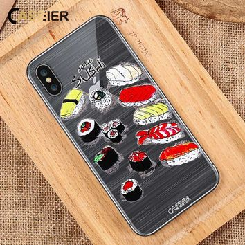 CASEIER Sushi Soft Phone Case For iPhone 7 8 Plus 6 6s Plus TPU Silicone Cases For iPhone X 5 5S SE Japanese style Funda Capa