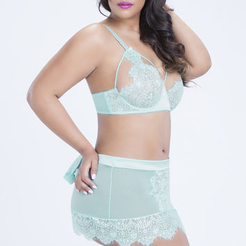 Sexy Aqua Eyelash Lace Skirtini