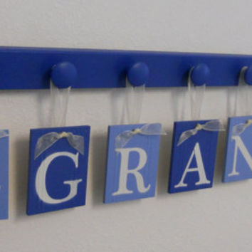 Sailboat Art Nursery Baby Name Hanging Wall Letters Sail Boats and 7 Wooden Peg Hanger - Blue. A Gift for GRANT