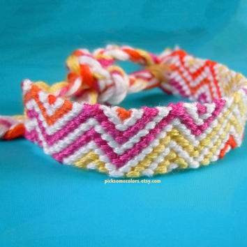 Child-Sized Zig Zag Friendship Bracelet - Pink, Yellow, Orange - Ready to Ship