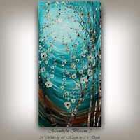 Abstract Teal Flower Wall Art Oil Painting, Flower Tree Art, Floral Abstract art Turquoise Blue Flower Textured fine art - Nandita Albright