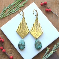 African Turquoise and Brass Diamond Earrings by FadeIntoTheAbstract on Bogatte.com