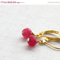 New Years SALE Simple Minimalist Genuine Ruby Earrings. Gold Filled Wire. Gold Leverback Earrings. Gemstone Earrings. Round Cut AAA Grade