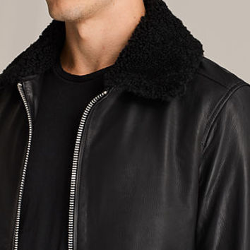 ALLSAINTS US: Mens Oban Aviator Leather Jacket (Black)