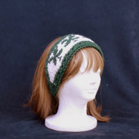 Knit Shamrock Headband Ear Muffs Clover Pattern Green White Irish