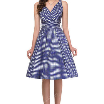 2017 Summer style robe ete 50s swing Vintage Polka dot Dresses Sleeveless Vestidos sexy Club Party plus size Women clothing