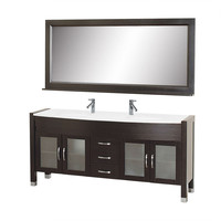 Contemporary Double Sink Bathroom Vanity Set in Espresso with White Top and Mirror