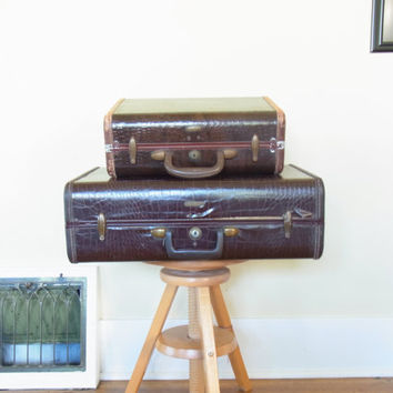 suitcase old suitcase nesting suitcases brown faux alligator skin old luggage set samsonite suitcase antique luggage vintage 1940s 1950s
